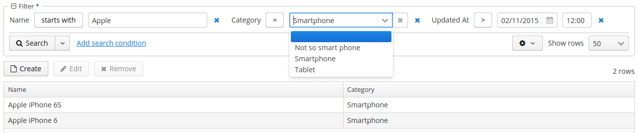 Select all products that start with Apple in Category Smartphone, which have changed since 2/11/15